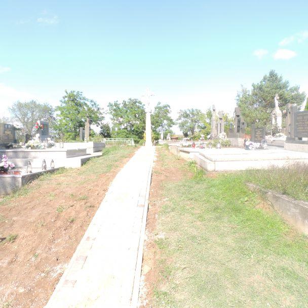 Výstavba chodníka - cintorín Veľký Báb - 2014